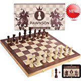 Wooden Chess Set for Kids and Adults - 15 Staunton Chess Set - Large Folding Chess Board Game Sets - Storage for Pieces | Wood Pawns - Unique E-Book for Beginner - 2 Extra Queens (Color: Wooden)