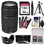 Canon EF 75-300mm f/4-5.6 III Zoom Lens with 32GB Card + Tripod + 3 Filters + Hood Kit for EOS 5D Mark II III, 6D, 7D, 70D, Rebel T3, T3i, T5, T5i, SL1 Cameras (Color: Black)