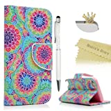 iPod Touch 5 Case, iPod Touch 6 Wallet Case - Mavis's Diary Premium PU Leather with Magnetic Clasp Card Holders Flip Cover for Apple iPod Touch 5th & 6th Generation - Colorful Flowers (Color: Colorful Flowers)
