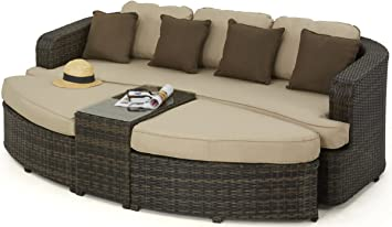 Maze Rattan Toronto Daybed in a Mixed Brown Weave