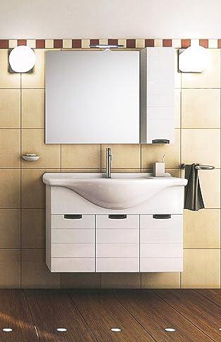 Mistermoby Mobile Bagno Moderno Sospeso con Lavabo Specchiera a Led e Pensile Colore Bianco Consolle da 85 Centimetri