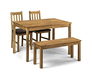 Coxmoor Oak Wood Dining | Kitchen Table 2 Chairs & Bench