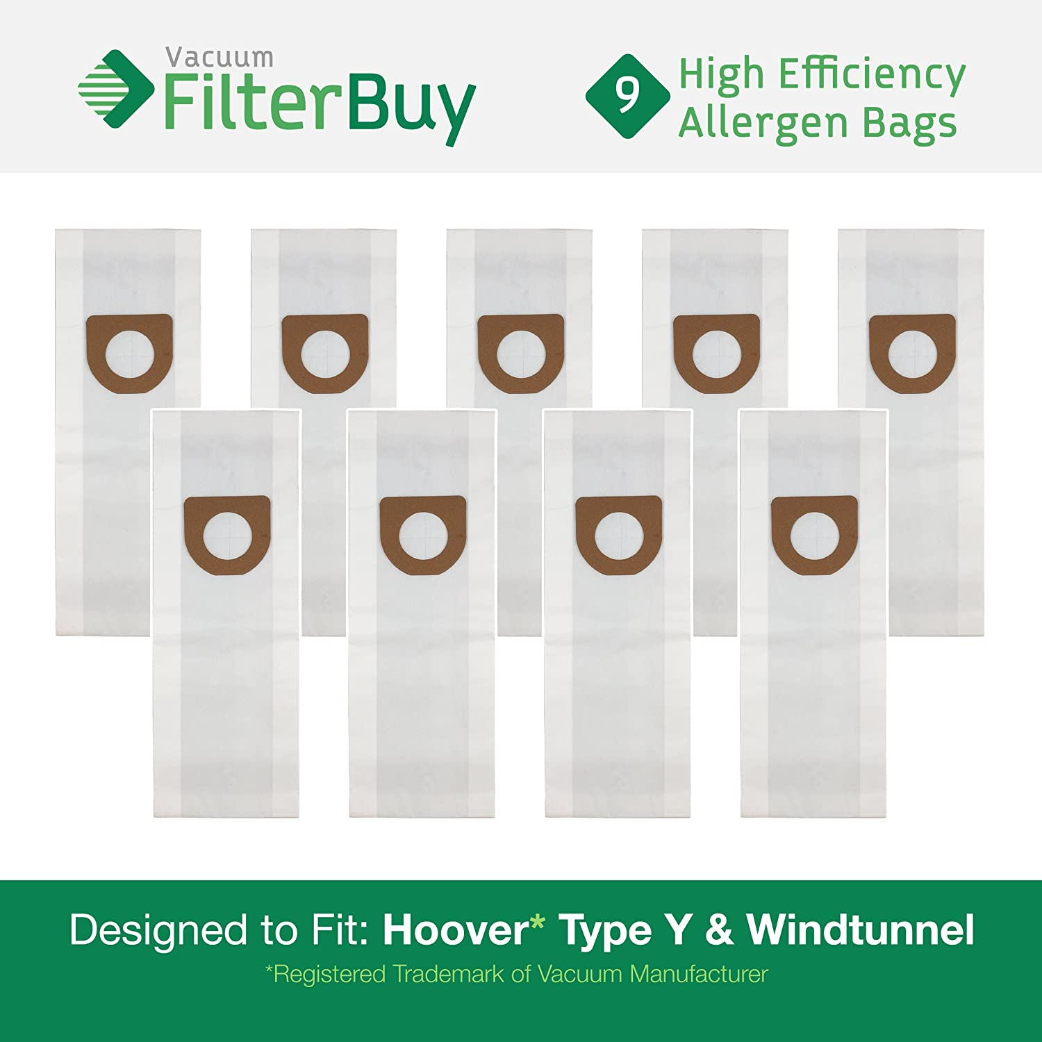 9 Hoover Windtunnel Upright Type Y Vacuum Bags. Designed by FilterBuy to Replace Hoover Part #