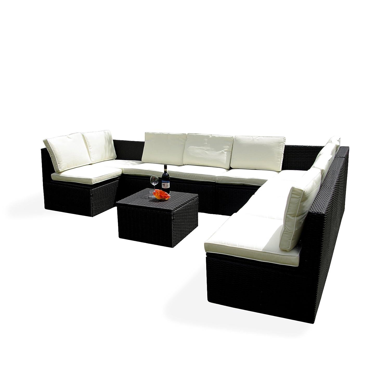 Gartenmöbel 10tlg. Sitzgruppe Poly Rattan Lounge Garten Garnitur creme online bestellen