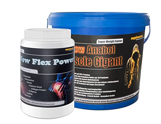 New Anabol Muscle Gigant 2,27kg Banane+New Flex Power 400g Orange! Weight Gainer Anabol Aminosäuren Protein Eiweißshake Kraftzuwachs Anabolika Kollagen Glucosamin Gelenke Gelenkaufbau