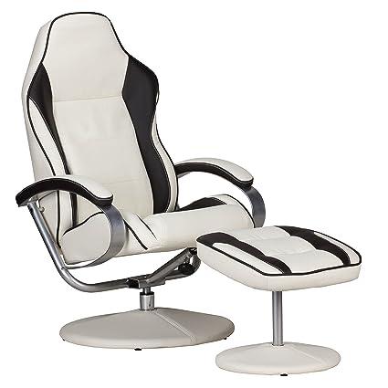 AMSTYLE, Fernsehsessel, SPM1.226, Design Relax-Sessel verstellbar Racing Modern Bezug Kunstleder creme/braun drehbar mit Hocker Racer X-XL 110 kg