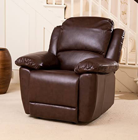 Sofa Collection Lacroix Luxury Electric Recliner Armchair Sofa, Leather, Brown, 90 x 98 x 100 cm