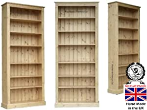 Solid Pine Bookcase, 7ft x 3ft Handcrafted & Waxed with Adjustable Display Storage Shelves. Bookshelves. Choice of Colours. No flat packs, No assembly (BK736)       Office Productsreview and more information