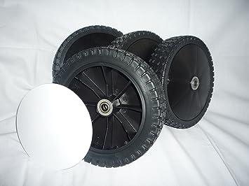 4 Ersatzräder Räder für Rasenmäher 200mm x 50mm  mit Kugellager und Bolzen M10