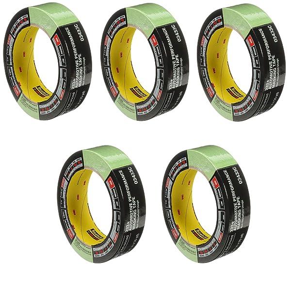 3M 03433 36 mm x 32 m Automotive Performance Masking Tape, 5 Pack (Tamaño: 36 mm x 32 m)
