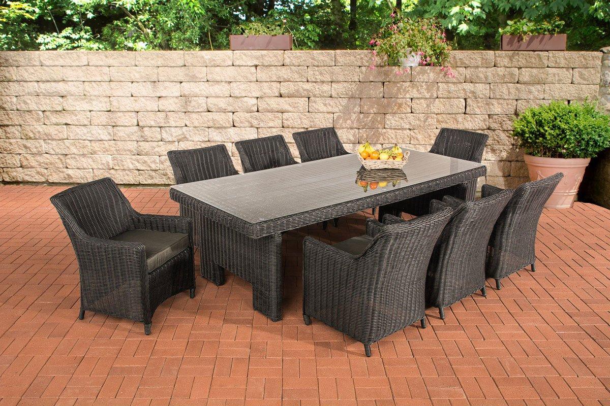 CLP Polyrattan Sitzgruppe SANDNES XL schwarz (8 Stühle mit Tisch 256 x 109 cm) INKL. Sitzkissen, Premiumqualität: 5mm Rundrattan schwarz, Bezugfarbe anthrazit