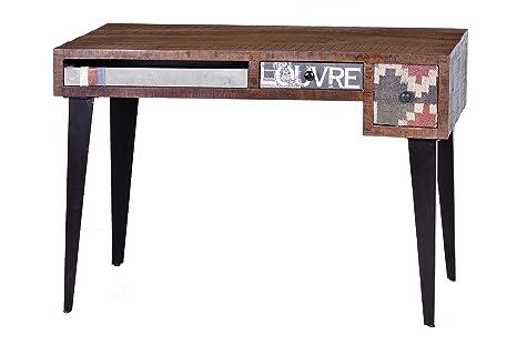 Sit-Möbel 1407-30 escritorio de madera y tela, mango de madera de yute, 120 x 60 x 76 cm, Multicolor