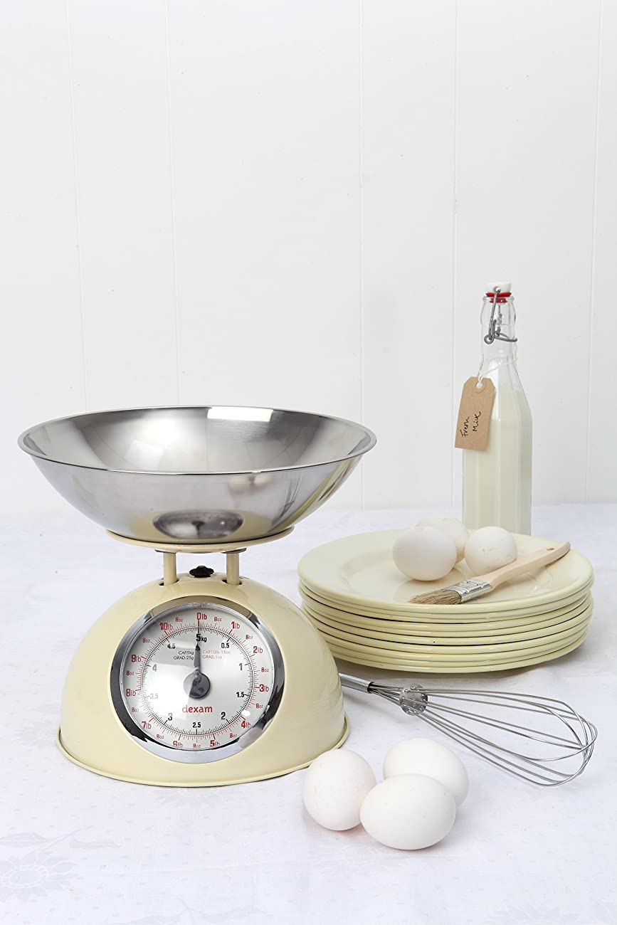 Dexam Retro Kitchen Scales In Cream - 2L Stainless Steel Bowl - Weighs Up To 5Kg 1