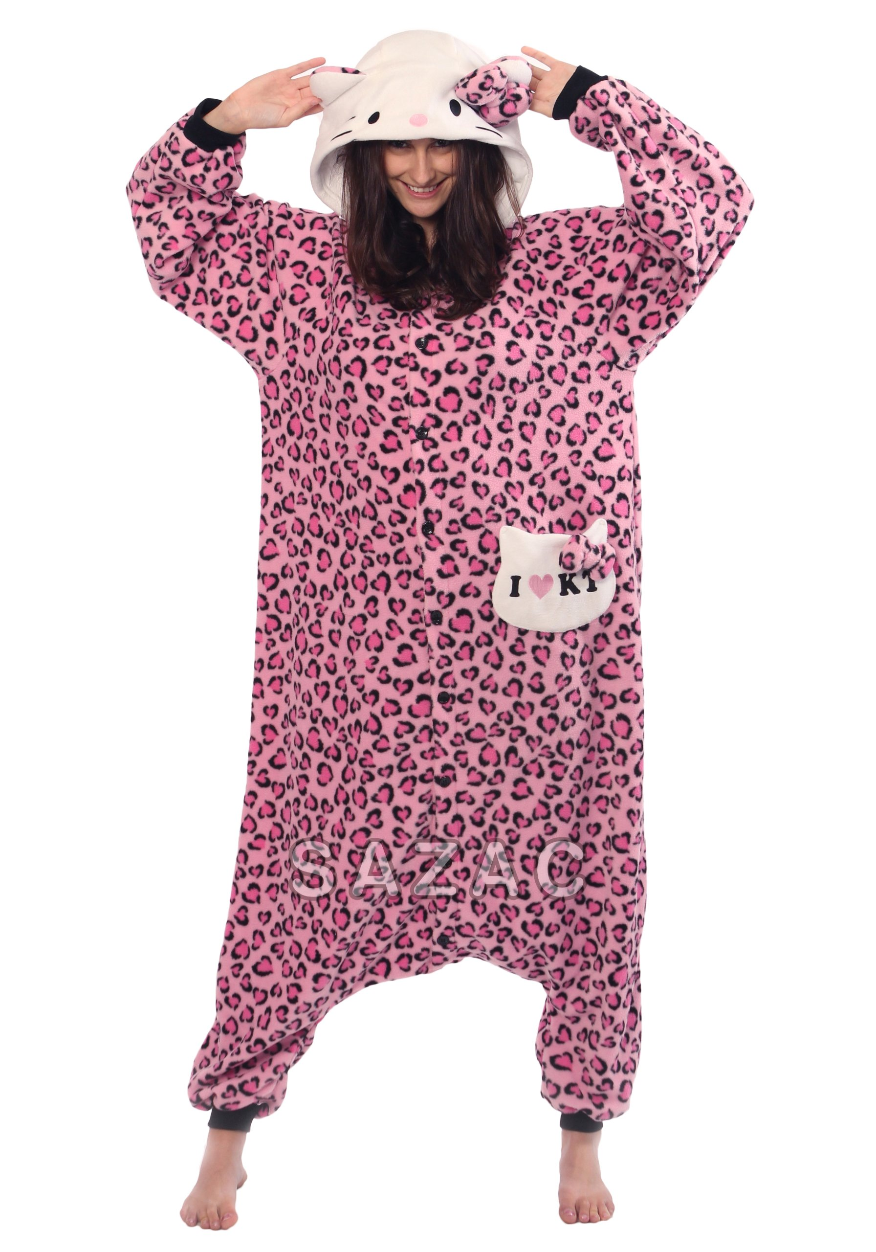Sazac Hello Kitty Leopard Pastel Pink Kigurumi - Adult Fancy Dress Custome