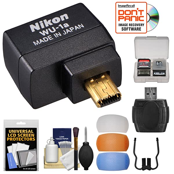 Nikon WU-1a Wireless Wi-Fi Mobile Adapter (for iPhone or Android) with 3 Flash Diffusers + Kit for DF, D3200, D3300, D5200 & D7100 Cameras (Certified Refurbished)
