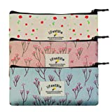 Miayon Countryside Flower Floral Pencil Pen Case Cosmetic Makeup Bag Set of 3 by Miayon (Color: 3 colors, Tamaño: 3 Count)