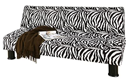 Primo International Maple Convertible 2 Position Studio Sleeper Sofa, Zebra