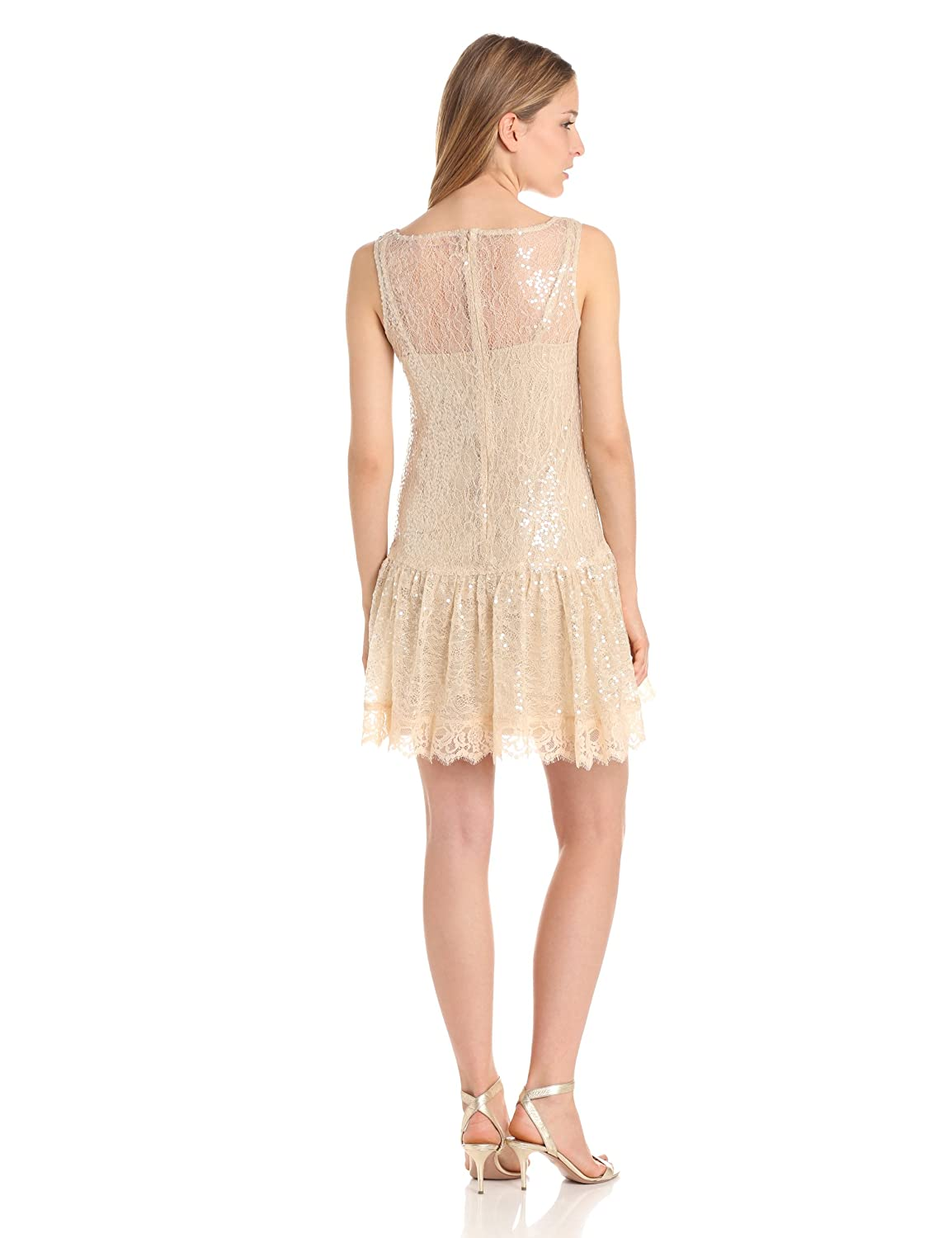 Lace and Sequin Dress with Ruffle Hem
