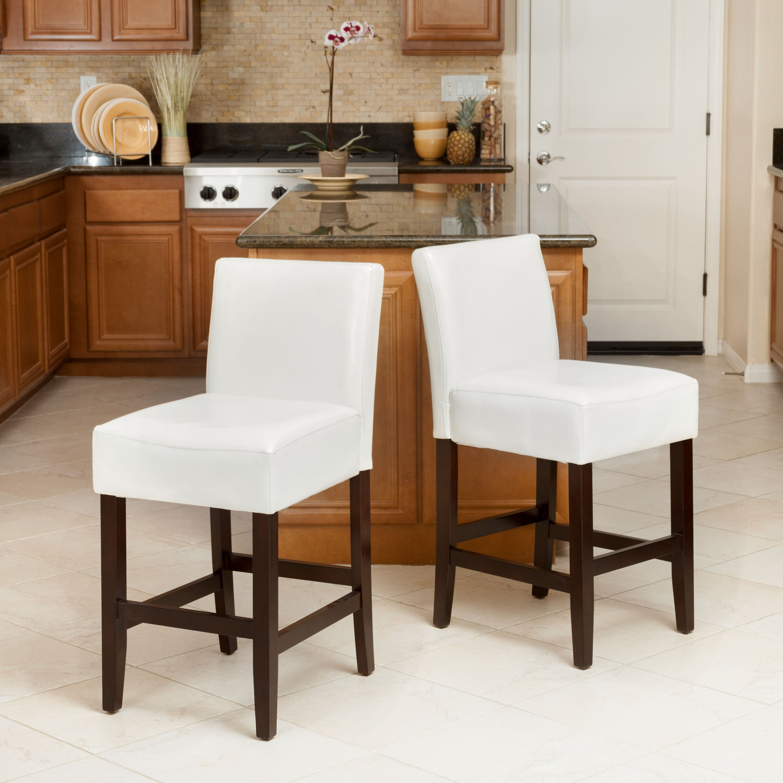 Lowry Ivory Leather Counter Stools Set Of 2