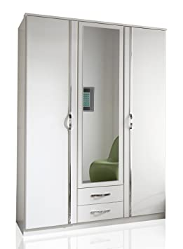Wimex 078484 Kleiderschrank, 3-turig mit zwei Schubkästen und einer Spiegeltur, 135 x 198 x 58 cm, aufleistungen chrom