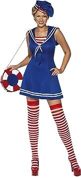 Smiffys Déguisement Femme, Matelote mignonne, avec robe, béret et collant, Taille 32-34, Couleur: Bleu, 33074