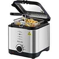 Aicok Fryer Mini 1.5 Liter 900W Lid Electric Fryer (Stainless Steel)