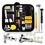 Watch Repair Kit,Watch Case Opener Spring Bar Tools,Watch Battery Replacement Tool Kit,Watch Band Link Pin Tool Set with Carrying Case (Color: Black, Tamaño: Pocket Size)