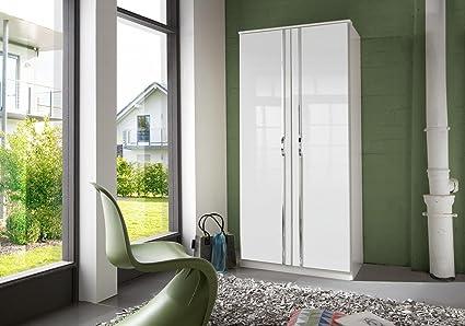 Wimex 060202 Trio Armoire 2 Portes Battantes Bois Blanc/Laqué Blanc Cassé 58 x 90 x 198 cm