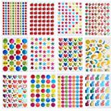 Coopay 7060 Pieces Teacher Stickers for Kids, Reward Stickers Mega Variety Pack, Incentive Stickers for Teacher Supplies Classroom Supplies Including Heart, Smiley Face, Star, Moon, Apple (Color: Color 1)