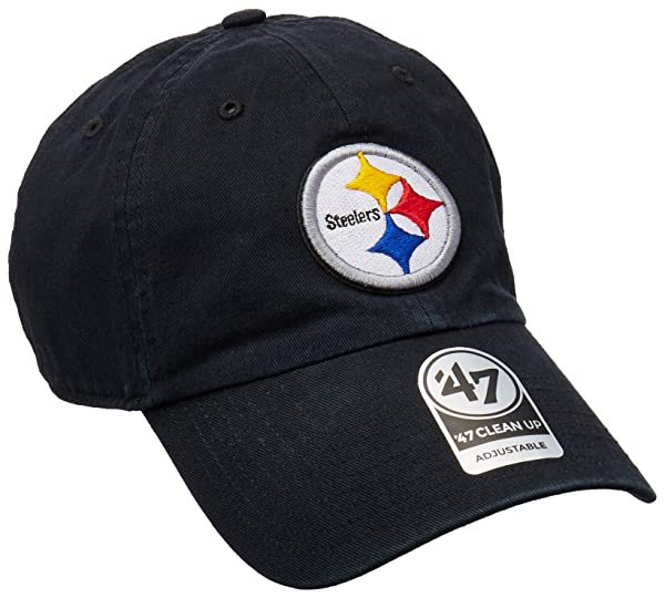 1ba60874214711 '47 NFL Pittsburgh Steelers Clean Up Adjustable Hat, Black, One Size Fits  All Fits All (Color: ...
