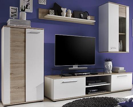 6-6-5-7-2408: moderne Wohnzimmerkombination - Wohnschrank - Wohnwand - 250cm breit - eiche-weiss-dekor