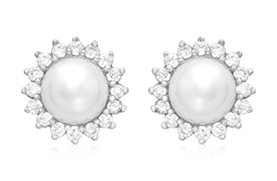 Carissima Gold 9 ct White Gold 12 mm Pearl and Cubic zirconia Cluster Stud Earrings