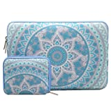 MOSISO Laptop Sleeve Compatible 15-15.6 Inch MacBook Pro, Notebook Computer with Small Case, Canvas Fabric Mandala Pattern Protective Carrying Bag Cover, Mint Green & Blue (Color: Mint Green & Blue, Tamaño: 15-15.6 Inch)