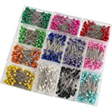 SUBANG 1200 Pieces Sewing Pins Multicolor Pearlized Head Pins for Dressmaking Jewelry Components Flower Decoration with Transparent Cases (12 Colors,38mm) (Color: 12 Multicolor)