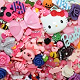 DIYJewelryDepot TM: 50 pc Assorted Mixed kawaii flat back resin cabochon + Bonus Toto Plush Keychain