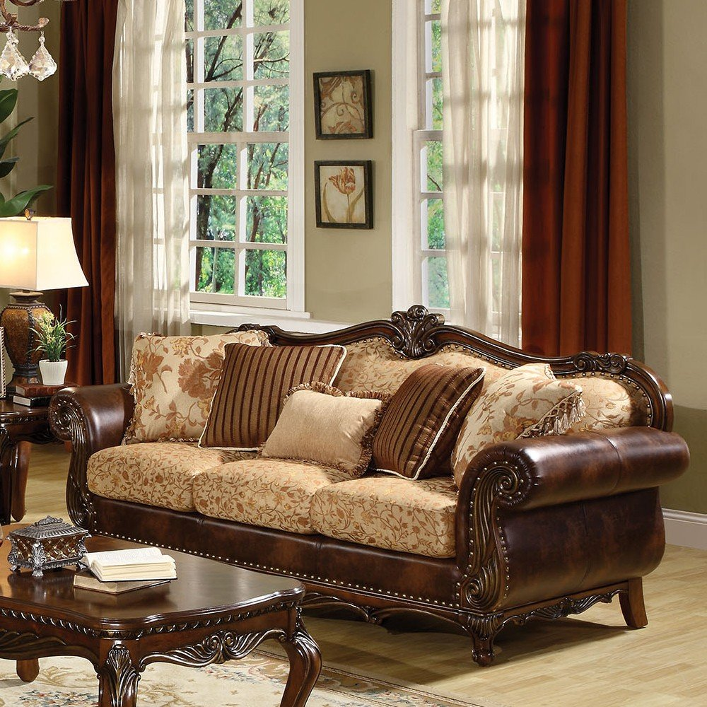 1PerfectChoice Remington Traditional Cherry Bonded Leather Sofa