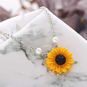 2c06eabd15 17mile Silver Resin Necklace Yellow Sunflower Necklace Gold Sunflower  Pendant Necklace Pearl Handmade Drop Choker Necklace ...