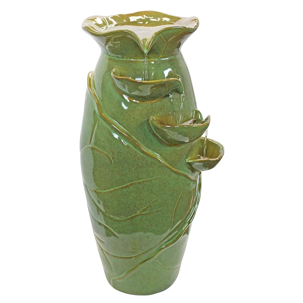 Water Fountain - Ceramic Vines Water Jug Garden Decor Fountain - Outdoor Water Feature