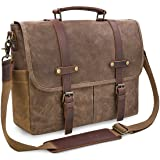 Mens Messenger Bag 15.6 Inch Waterproof Vintage Genuine Leather Waxed Canvas Briefcase Large Satchel Shoulder Bag Rugged Leather Computer Laptop Bag, Brown (Color: Brown, Tamaño: Large)
