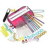 LIHAO 59 Piece Crochet Hooks Yarn Knitting Needles Stitch Markers Gauge Ruler Scissors Gift Set (Color: Pink)