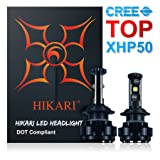 HIKARI LED Headlight Bulbs Conversion Kit -H7,CREE XHP50+XM-L2 9600lm 6K Cool White,2 Yr Warranty
