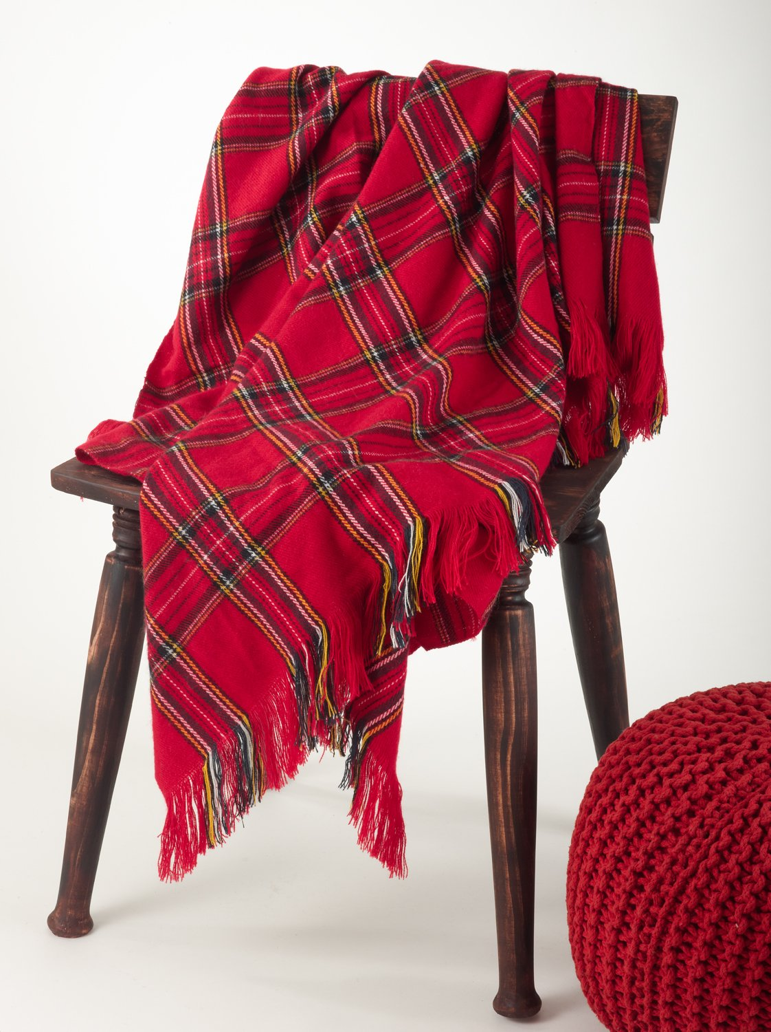 Classic Red Plaid Design Throw Blanket, 50