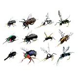 Fly Fishing Kit – Pack 12 of Handmade Fly Fishing Lures Kit – 3D Laser Compound Eyes – Food-Grade Silicone Body Flies – Eco-Friendly Packaging – High Simulation Fishing Dry Flies (Simulation flies) (Color: Simulation flies)