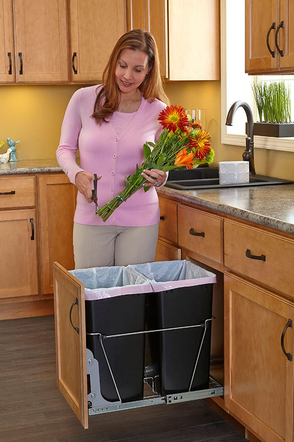 pull out trash garbage can waste container kitchen cabinet organizer 35 quart ebay. Black Bedroom Furniture Sets. Home Design Ideas