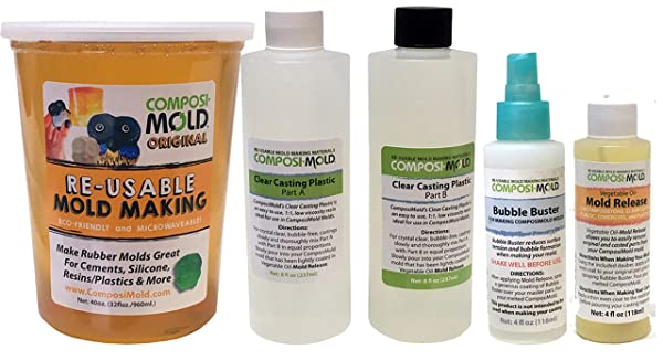 ComposiMold All-in-One Mold Making and Casting Pro Package, Epoxy Resin, Molding Material, Mold Release, and Bubble Buster (Color: Clear Resin, Tamaño: 40 oz molding rubber, 16 oz resin)