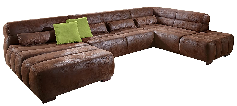 Cavadore 478 Wohnlandschaft Scoutano, Longchair li – Sofa 3-er Ottomane re, 363 x 76 x 227 cm, antik chocco günstig online kaufen