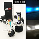 (2 COLOR IN 1 SET) H4 9003 HB2 30000K Blue 6000K White (High & Low Beam) CREE COB LED Xenon Kit 8000LM 80W US Motorcycle