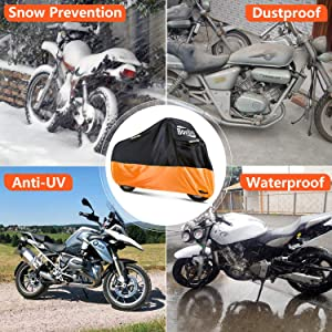 210D Oxford Durable /& Tear Proof for 104 Inch Motorcycles Like Honda Bonbo Waterproof Motorcycle Cover 2019 Upgrade Version All Weather Outdoor Protection Harley and More Suzuki Yamaha