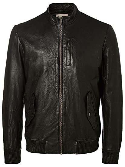 Selected Herren Lederjacke SHNFreeze Leather Jacket 16048534 schwarz
