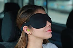 Sleep Mask Sleepfun Invisible Alar Deep Orbit 3D Eye Mask Ultra Lightweight & Comfortable Sleeping Mask for Travel, Nap, Shift Works, Black & Blue (Color: Black-blue)
